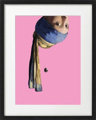 Vermeer meisje met de parel ondersteboven passepartout lijst Zwart - Miauw
