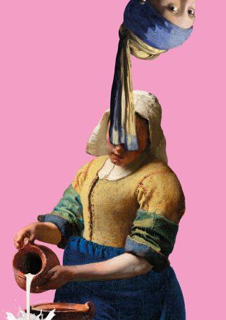 Postkaart meisje met de parel ondersteboven Melkmeisje - Miauw