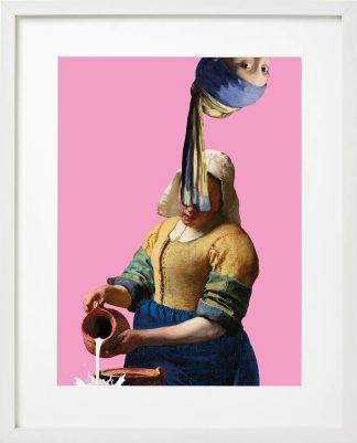 Vermeer meisje met de parel ondersteboven - melkmeisje - passepartout lijst Wit - Miauw