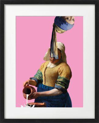 Vermeer meisje met de parel ondersteboven - melkmeisje - passepartout lijst Zwart - Miauw