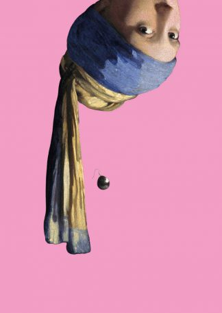 Postkaart meisje met de parel ondersteboven - Miauw