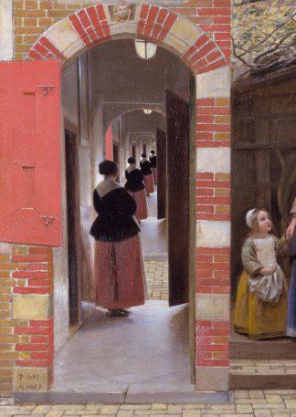 Postkaart Pieter de Hooch Droste effect - Miauw