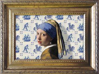 Baroklijstje Meisje met de parel Delfts blauw- Miauw