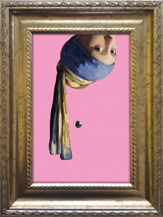 baroklijstje johannes vermeer meisje met de parel ondersteboven popart grappige kunst in het klein