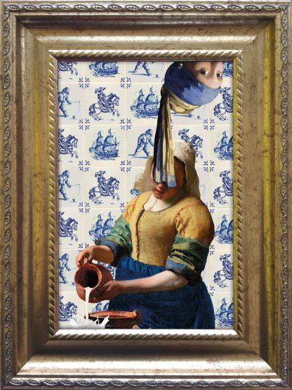 Baroklijstje Vermeer Parelmeisje Melkmeisje Tegels - Miauw