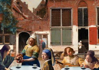 postkaart Vermeer straatje meisje met de parel melkmeisje astronoom