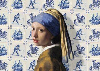 postkaart Meisje met de parel Delfts blauwe tegels - Miauw