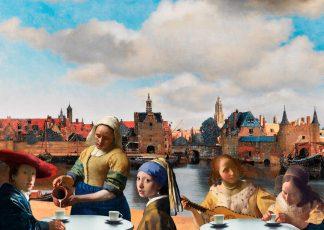 Postkaart Vermeer family - Zicht op Delft - Miauw