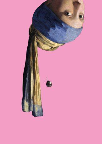 Poster Vermeer meisje met de parel ondersteboven - Miauw