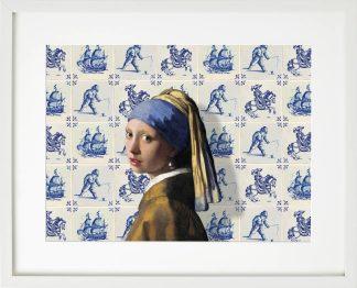 Vermeer meisje met de parel ondersteboven - Delfts blauwe tegels - passepartout lijst Wit - Miauw