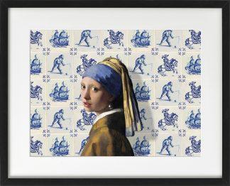 Vermeer meisje met de parel ondersteboven - Delfts blauwe tegels - passepartout lijst Zwart - Miauw