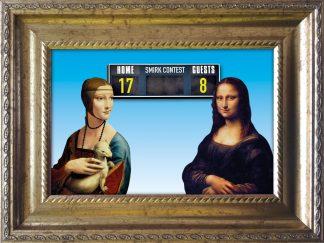 Baroklijstje Da Vinci Mona Lisa Smirk Contest - blauw - Miauw