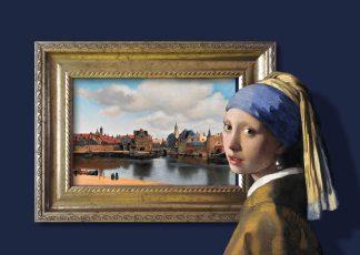 Postkaart Vermeer Meisje met de parel bij Gezicht op Delft