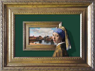 Baroklijstje Vermeer meisje met de parel Zicht op Delft Lijst - groen - Miauw