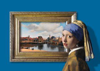 postkaart meisje met de parel johannes vermeer gezicht op delft blauw