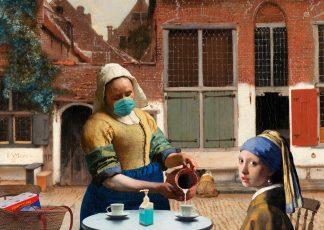 Postkaart Vermeer meisjes Straatje van Vermeer - corona - Miauw