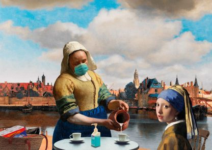 Postkaart Vermeer meisjes Zicht op Delft - corona - Miauw