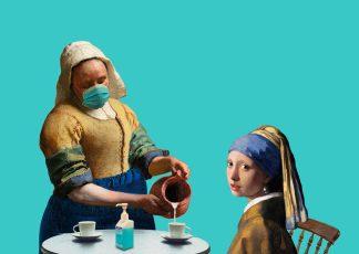 Postkaart meisje met de parel melkmeisje van vermeer corona terrasregels