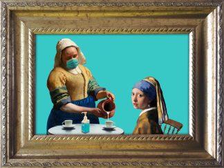 Vermeer Meisje met de parel Melkmeisje Corona mondkapje