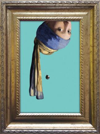 Baroklijstje Vermeer Meisje met de Parel Ondersteboven - Miauw