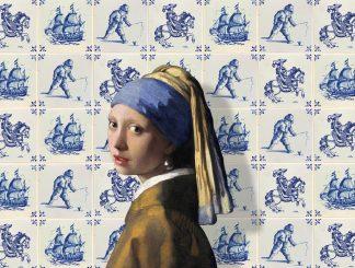 Poster Vermeer meisje met de parel Delfts blauw tegels