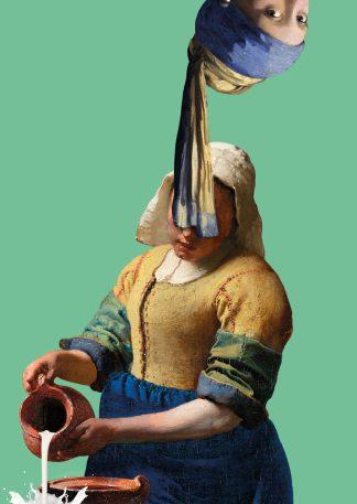 Postkaart johannes vermeer meisje met de parel ondersteboven Melkmeisje