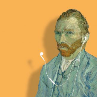 klapkaart van gogh zelfportret 1889 earpods