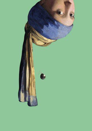 postkaart vermeer meisje met de parel ondersteboven