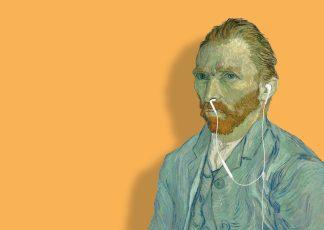postkaart vincent van gogh zelfportret 1889 earpods neus