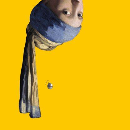 canvas vermeer meisje met de parel ondersteboven decoratie oker