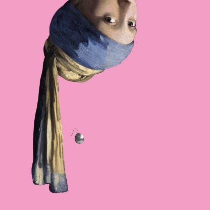 canvas vermeer meisje met de parel ondersteboven decoratie roze