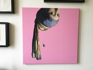 canvas vermeer meisje met de parel ondersteboven decoratie middelgroot