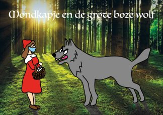 postkaart mondkapje grote boze wolf corona