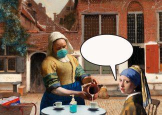 Postkaart Vermeer meisje met de parel melkmeisje Straatje - corona mondkapje - zelf invullen
