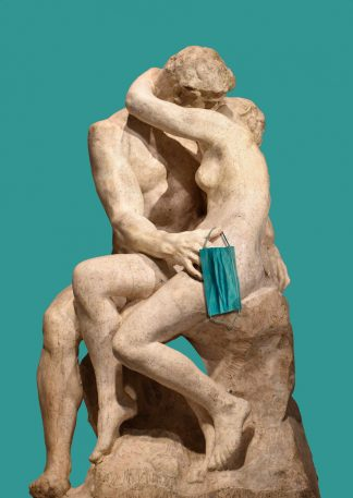 postkaart de kus Rodin - mondkapje corona covid kunstkaart