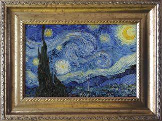 vincent van gogh sterrennacht starry night in een lijstje zoals de echte lijst in het MoMa - reproductie - uitsnede
