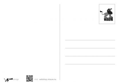 achterkant postkaart Miauw