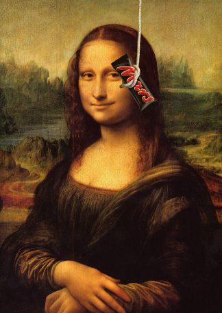 Kunst ansichtkaart met het geheim achter Mona Lisa's beroemde glimlach