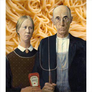 klapkaart american gothic grant wood spaghetti ketchup gevouwen kaart met envelop