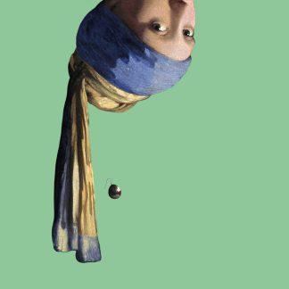 luxe gevouwen kunstkaart met envelop - Het Meisje met de Parel dat ondersteboven hangt
