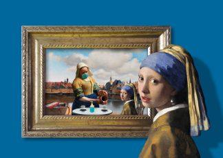 postkaart corona meisje met de parel vermeer melkmeisje covid mondkapje toiletpapier