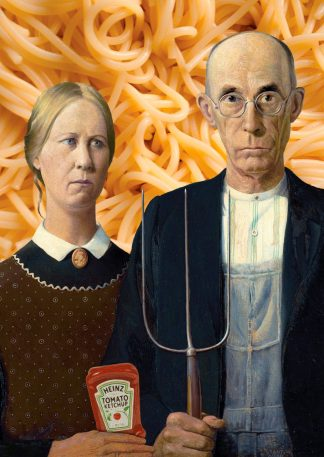 postkaart american gothic grant wood spaghetti grappige kunst