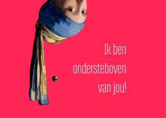 verliefd anischtkaart ondersteboven vermeer meisje met de parel liefde postkaart