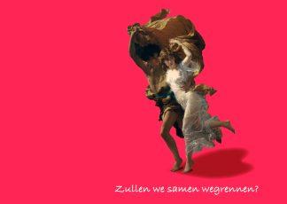 ansichtkaart liefde verliefd samen wegrennen kunst postkaart