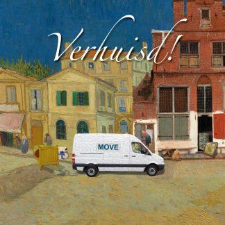 luxe gevouwen verhuiskaart met envelop - vincent van gogh straatje van vermeer