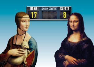 ansichtkaart smirk contest tussen mona lisa en dame met de hermelijn door Leonardo da Vinci