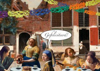 grappige kunst verjaardagskaart vermeer meisje met de parel melkmeisje de astronoom de gitaarspeelster en de kantwerkster hebben wat te vieren op een terrasje in het Straatje van Vermeer