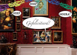 verjaardagskaart kunst jarig meisje met de parel vincent van gogh nachtwacht gefeliciteerd ansichtkaart