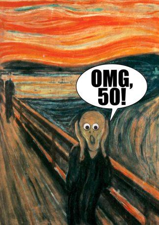verjaardagskaart 50 jaar met de schreeuw van munch - omg vijftig!