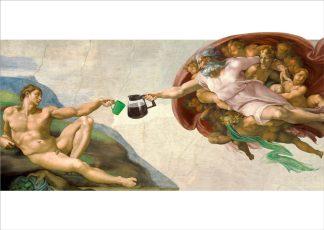 ansichtkaart michelangelo schepping van adam - koffie - koffiekunst